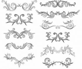 Document decorative elements symmetric curves vector