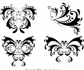 Butterflies icons symmetric curves vector