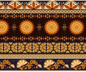 Traditional fabric pattern colored flat repeating ethnic elements vector design