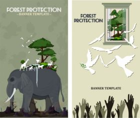 Environment protection banners damaged nature symbols vector
