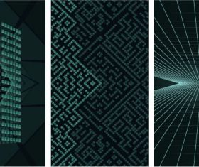 Decorative backgrounds modern dynamic 3d shapes light effect vector set