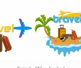 Travel icons airplane luggage island colorful shiny vector