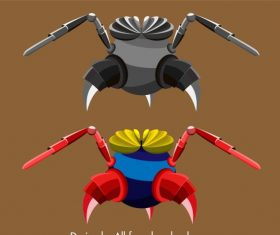 Insect robot template shiny colored modern 3d vector graphics