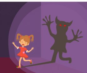 Childhood scary background girl ghost silhouette vector