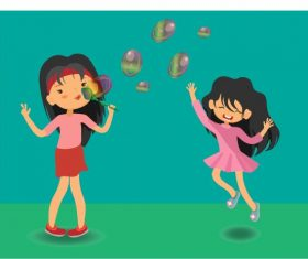 Childhood background girls playing balloons cartoon characters vector