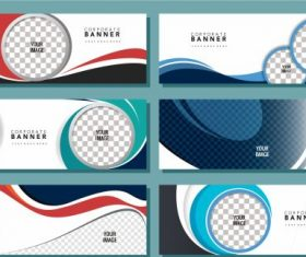 Corporate banners templates bright modern flat colorful vector