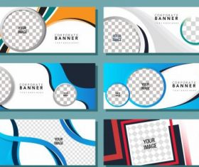 Corporate banner templates checkered colored modern vector design