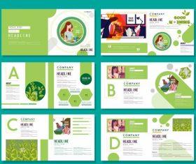 Brochure templates healthy life theme bright green white vector set