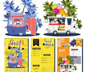 Food truck menu templates colorful vendor design vectors