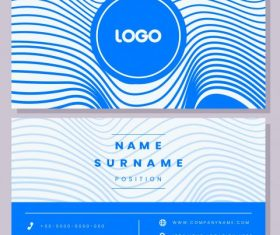 Business card template blue illusive curves vector