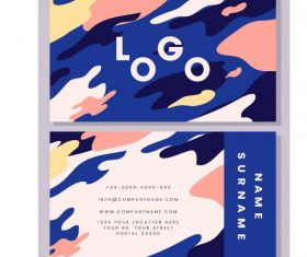 Business card template colorful deformed abstract vector