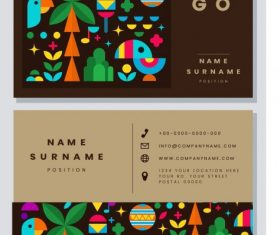 Business card template colorful flat natural emblems vector design
