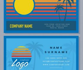 Business card templates sunset scene theme coconut set vector