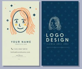 Business card template handdrawn woman face vector