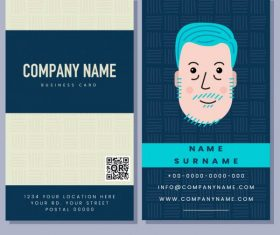 Business card template old man handdrawn vector