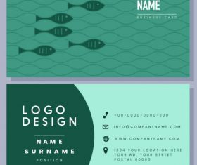 Business card template flat fishes green vector graphics