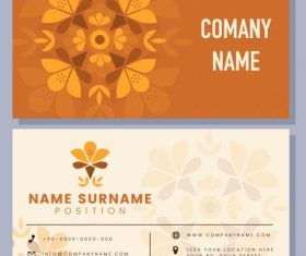 Business card template flat flower set vector