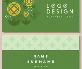 Business card template flower green flat vector