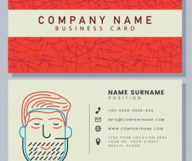 Business card template handdrawn man face shiny vector