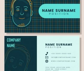 Business card templates handdrawn face checkered vector