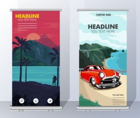 Travel banners scenery scenes vertical vector