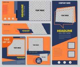 Corporate promotion sets modern colored checkered vectors