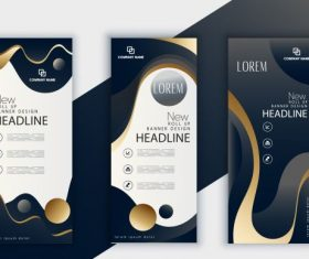 Corporate banner template shiny dark design vector