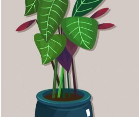 Decorative plant pot painting shiny colored vector