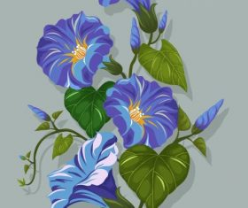 Flower painting green violet classical vector graphics