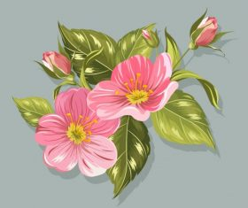 Flower painting colored classical handdrawn vector