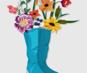 Decorative flowers boots colorful classical vector