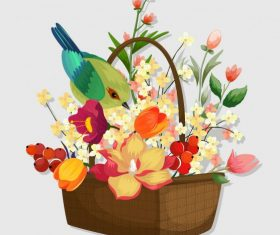 Flower basket colorful classical bird vector design