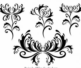 Decorative flora templates classical symmetric curves vector