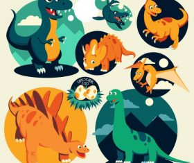 Dinosaur icons colored cartoon characters vector
