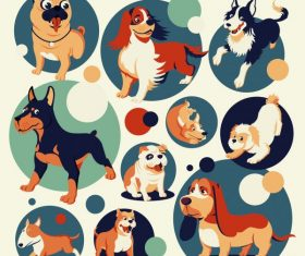 Dog species icons cute cartoon vector