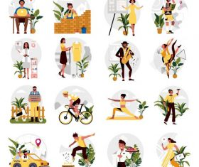 Occupation icons human activities cartoon characters vector