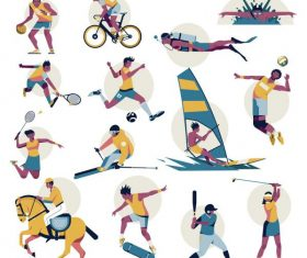 Sports icons cartoon characters colorful dynamic vector
