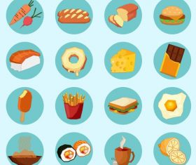 Food drinks signs icons colorful circle isolation vector