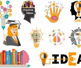 Idea elements colored flat symbols vector set