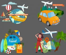 Travel elements vehicles tourists utensils vector