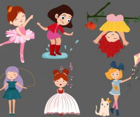 Childhood icons cute girls cartoon vector