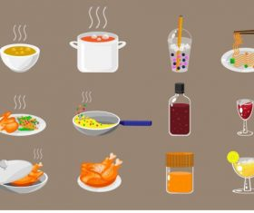 Foods drinks sign icons colored classical vector design