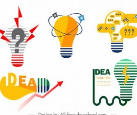 Idea concept elements colored flat lightbulb vector