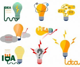 Idea concept icons flat lightbulbs shapes colored vector