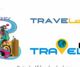 Travel icons colored vehicles texts vector