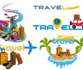 Travel icons vehicles luggages island vector