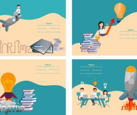 Startup banners lightbulb spaceship book stacks staffs vector