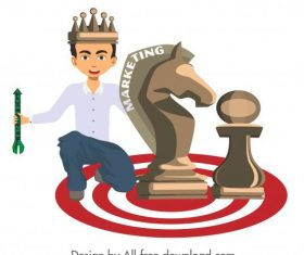Marketing strategy background king chess pieces icons vector
