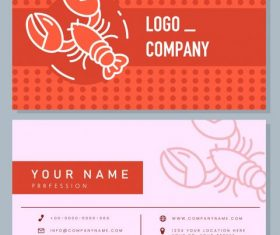 Business card template lobster flat handdrawn set vector
