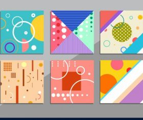 Abstract pattern templates colorful flat geometric vector